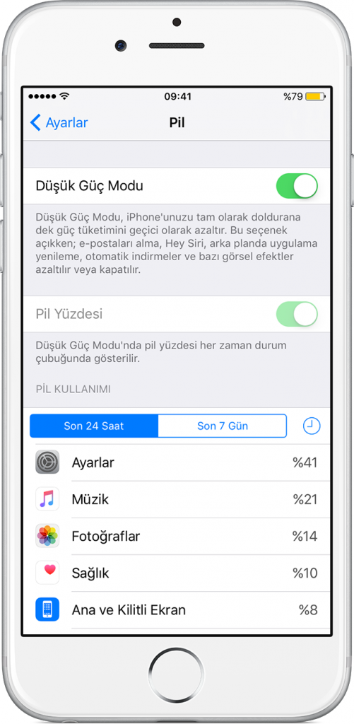 iPhone pil süresi